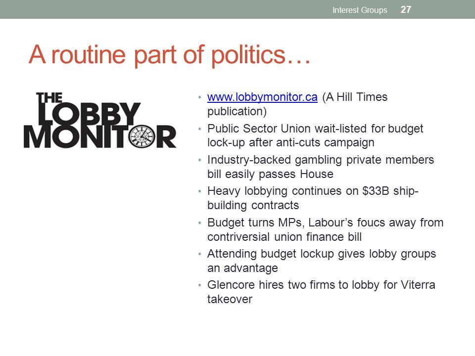A routine part of politics…