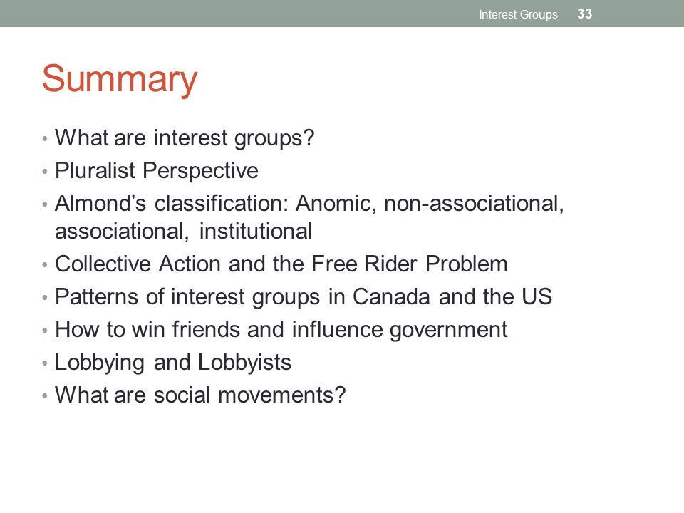 Summary What are interest groups Pluralist Perspective