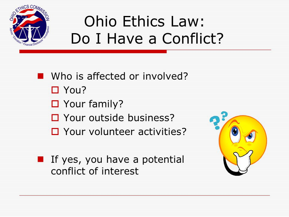 Ohio Ethics Law: Do I Have a Conflict