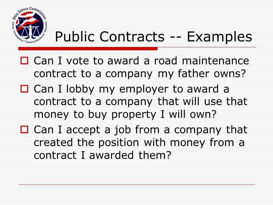 Public Contracts -- Examples