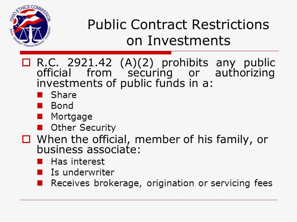 Public Contract Restrictions on Investments