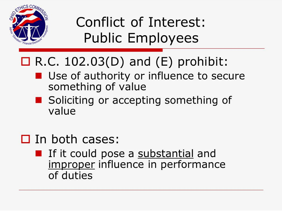 Conflict of Interest: Public Employees
