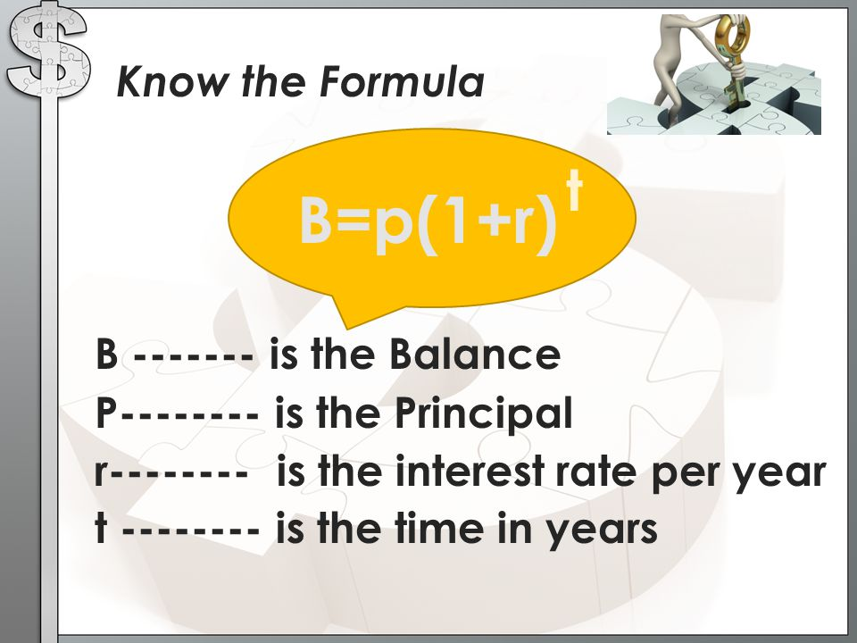 B=p(1+r) t Know the Formula B ------- is the Balance