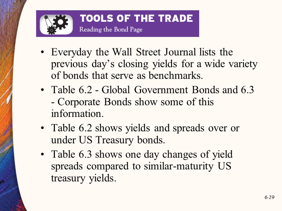 Everyday the Wall Street Journal lists the previous day's closing yields for a wide variety of bonds that serve as benchmarks.
