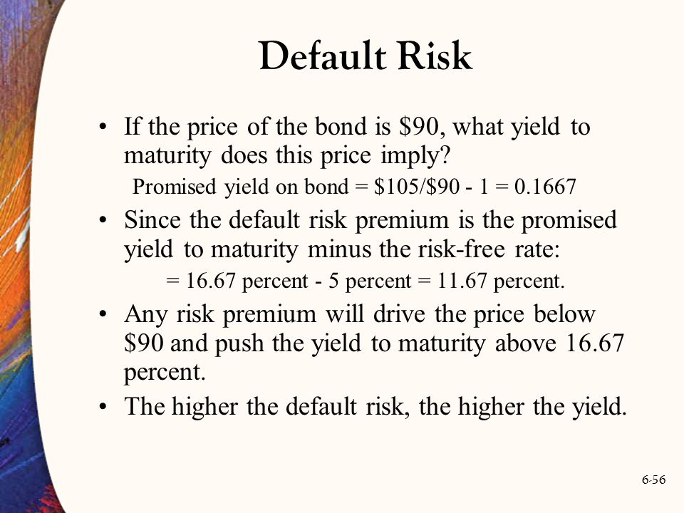 Default Risk If the price of the bond is $90, what yield to maturity does this price imply Promised yield on bond = $105/$90 - 1 = 0.1667.