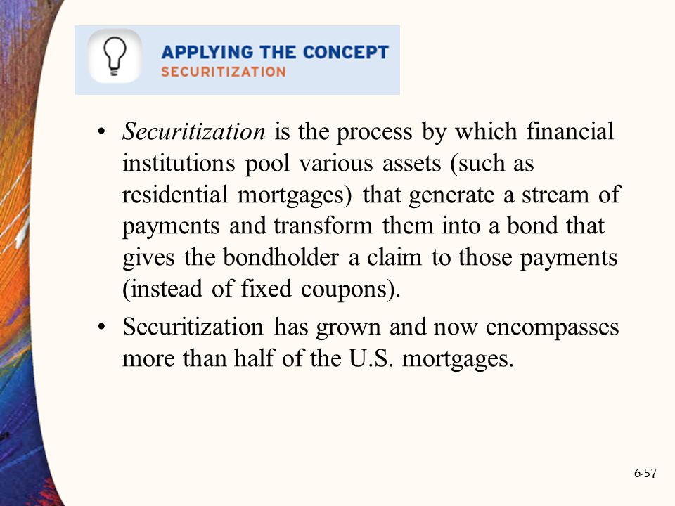 Securitization is the process by which financial institutions pool various assets (such as residential mortgages) that generate a stream of payments and transform them into a bond that gives the bondholder a claim to those payments (instead of fixed coupons).