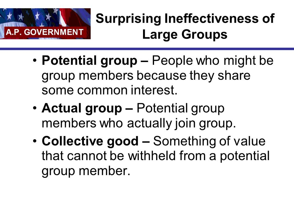 Surprising Ineffectiveness of Large Groups
