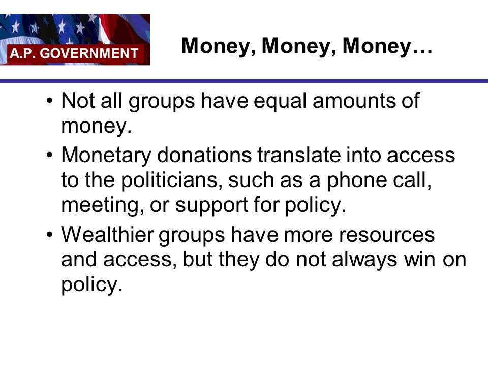 Money, Money, Money… Not all groups have equal amounts of money.