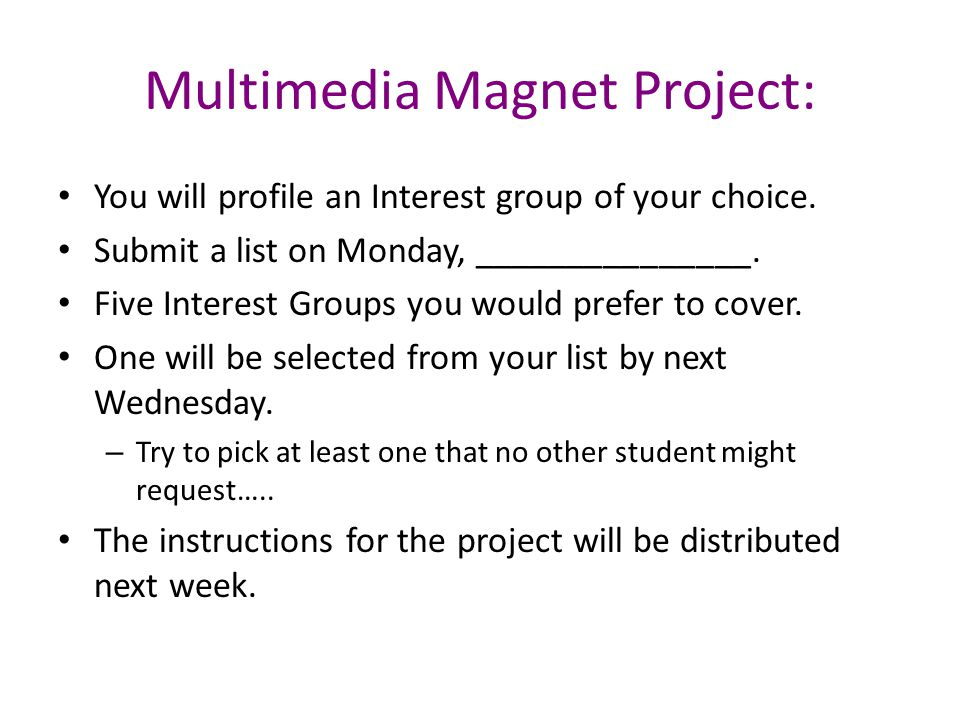 Multimedia Magnet Project: