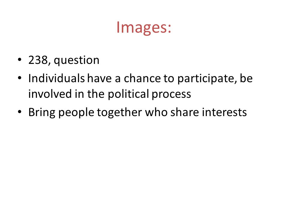 Images: 238, question. Individuals have a chance to participate, be involved in the political process.
