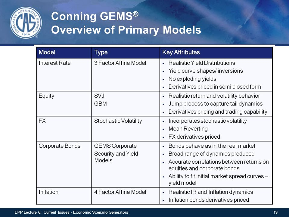 Conning GEMS® Overview of Primary Models