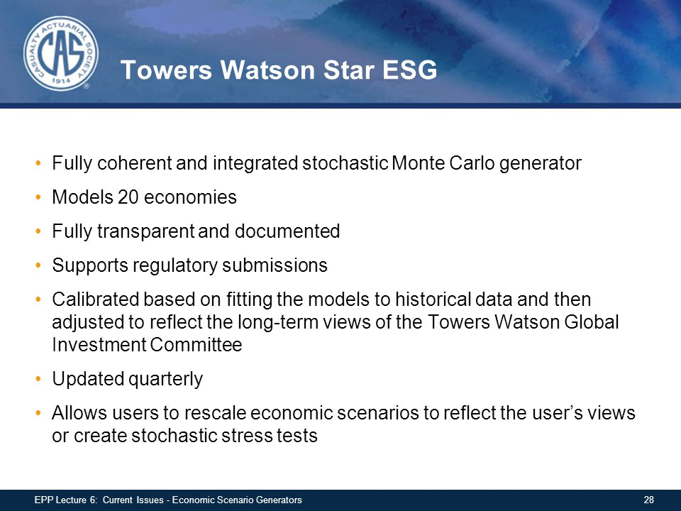 Towers Watson Star ESG Fully coherent and integrated stochastic Monte Carlo generator. Models 20 economies.