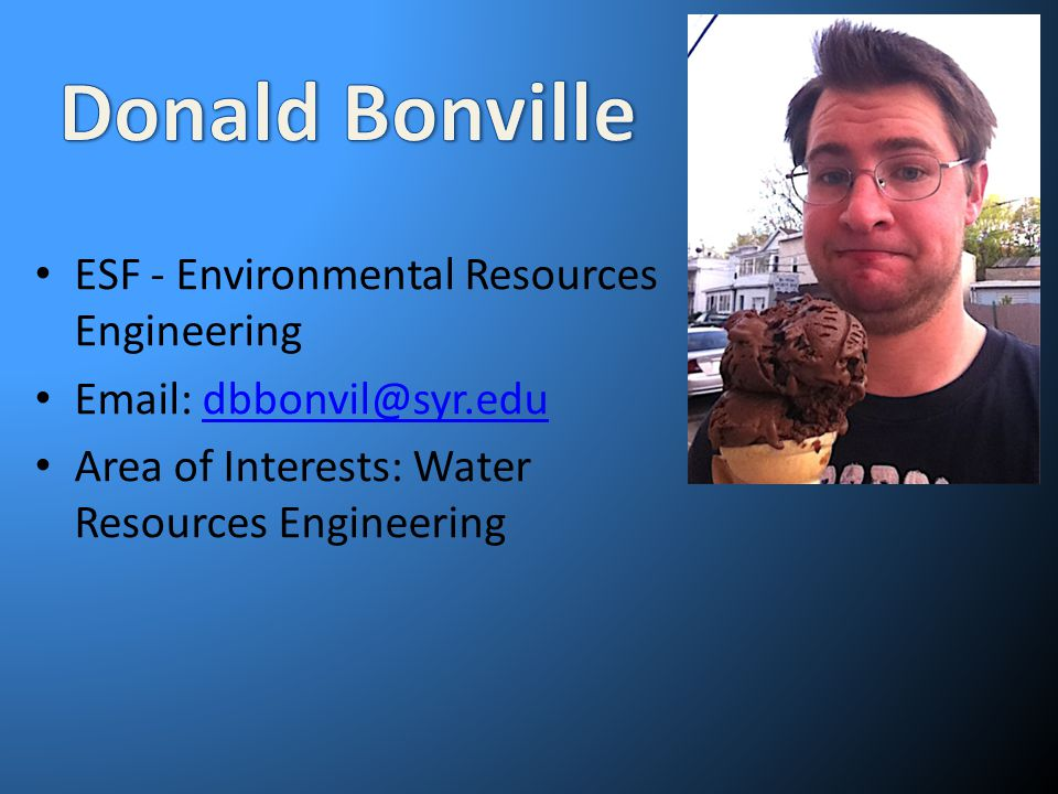 Donald Bonville ESF - Environmental Resources Engineering