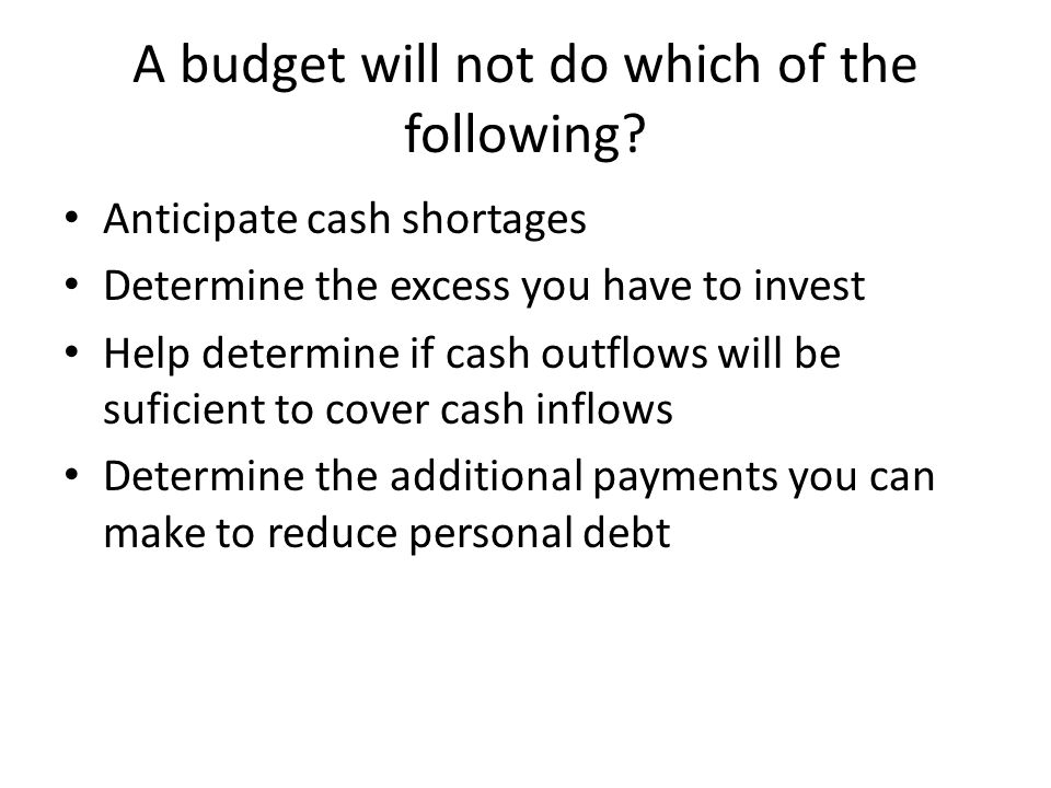 A budget will not do which of the following