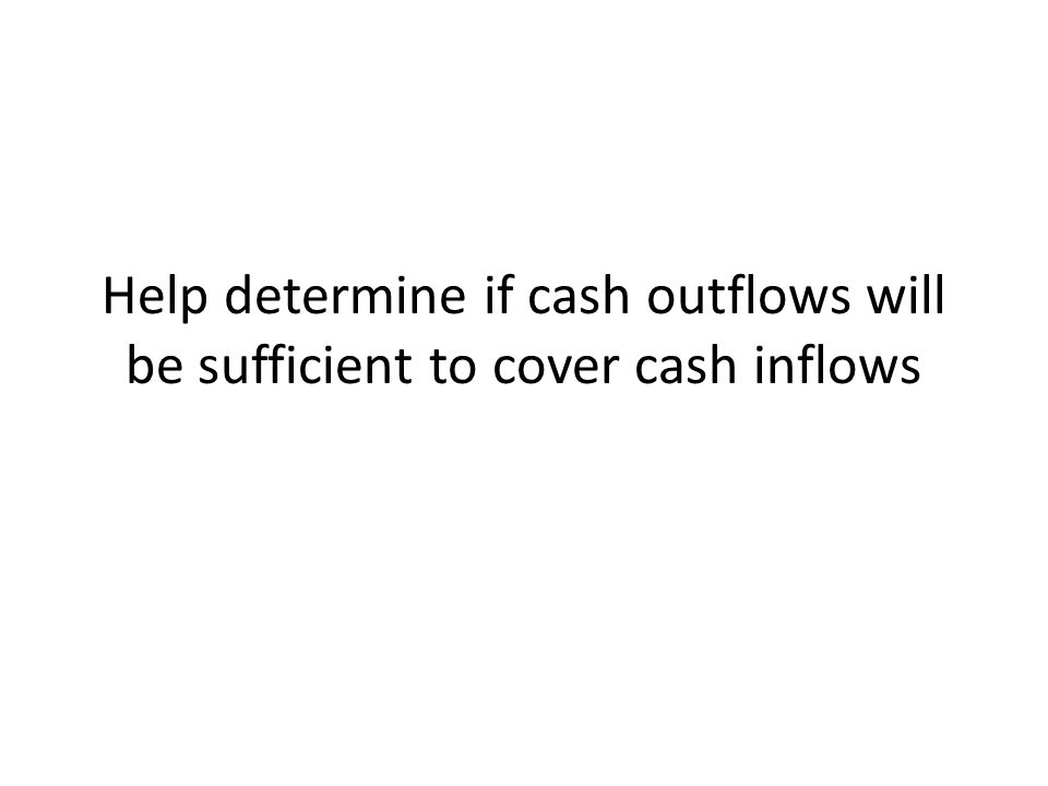 Help determine if cash outflows will be sufficient to cover cash inflows