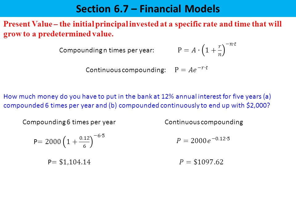 Section 6.7 – Financial Models