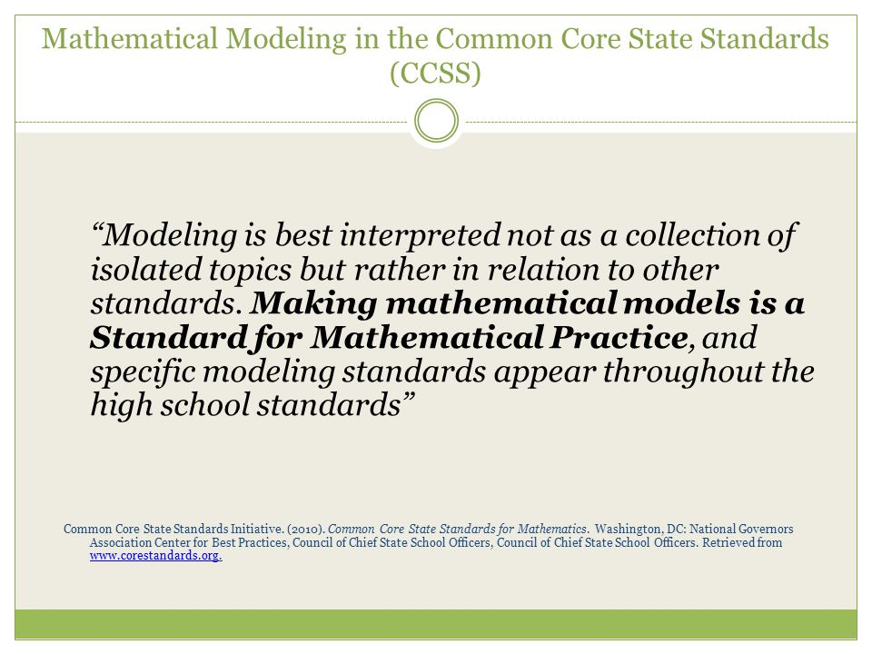Mathematical Modeling in the Common Core State Standards (CCSS)