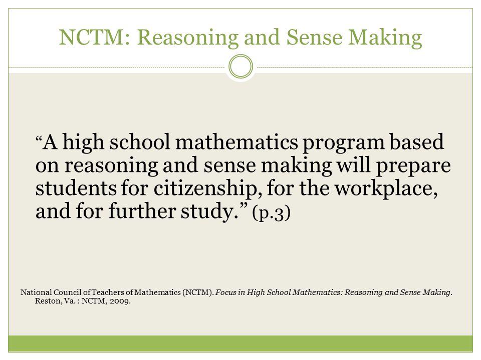 NCTM: Reasoning and Sense Making