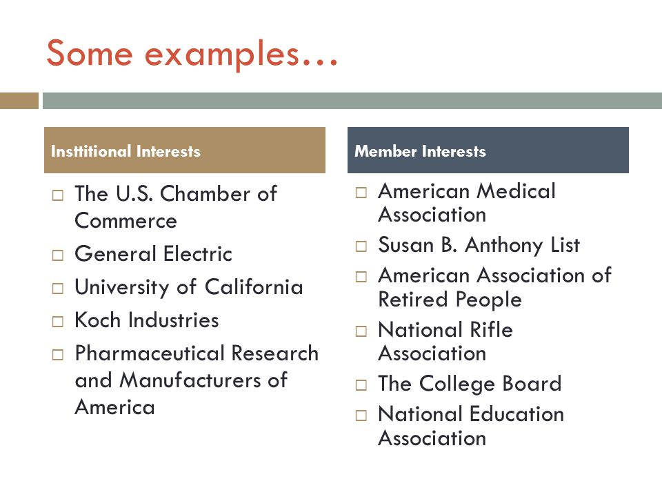 Some examples… The U.S. Chamber of Commerce General Electric