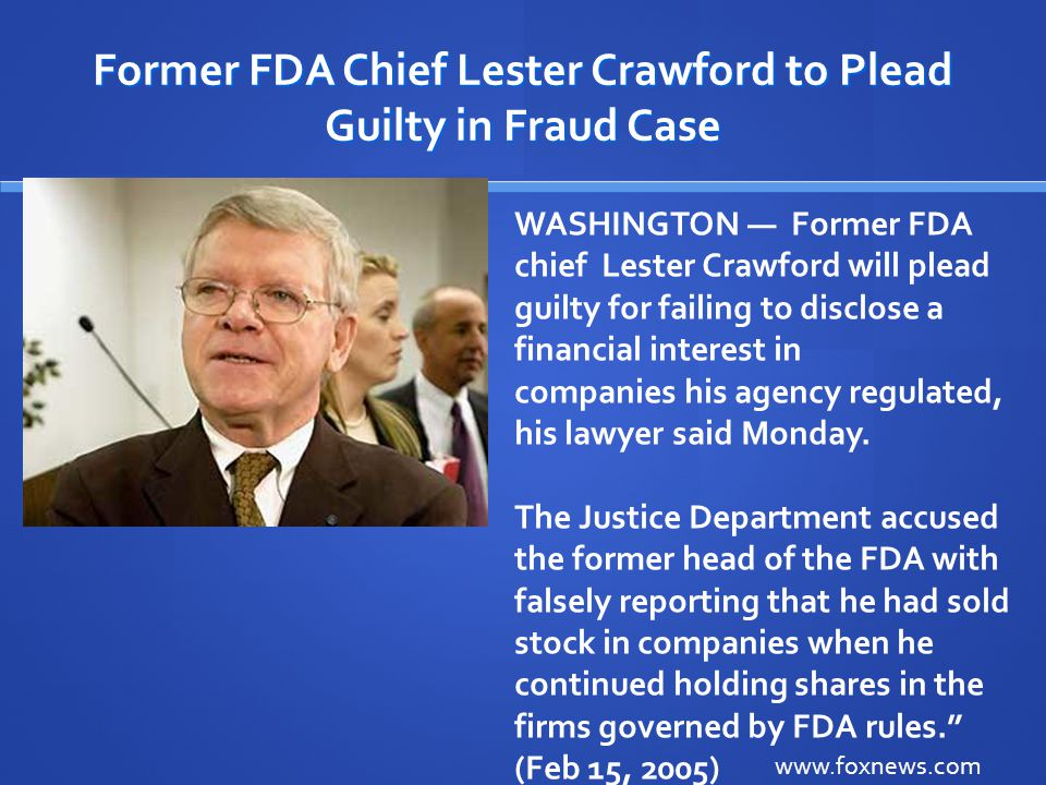 Former FDA Chief Lester Crawford to Plead Guilty in Fraud Case