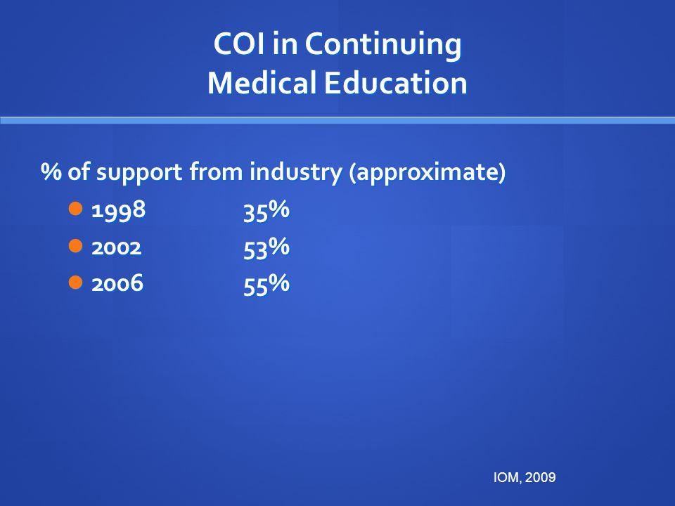 COI in Continuing Medical Education