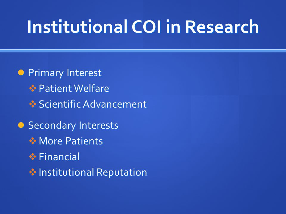 Institutional COI in Research
