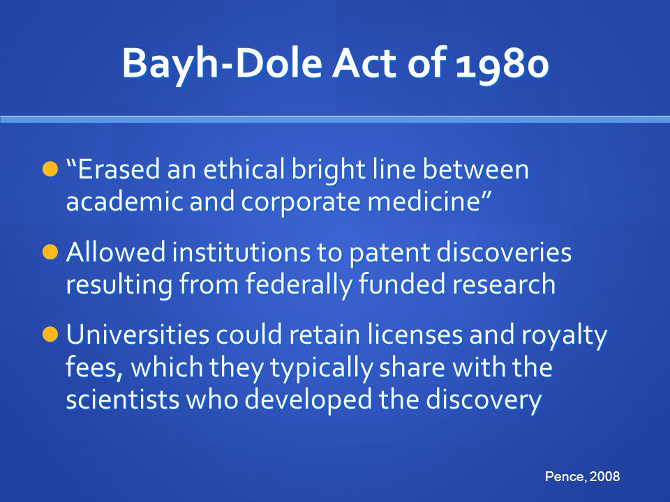 Bayh-Dole Act of 1980 Erased an ethical bright line between academic and corporate medicine
