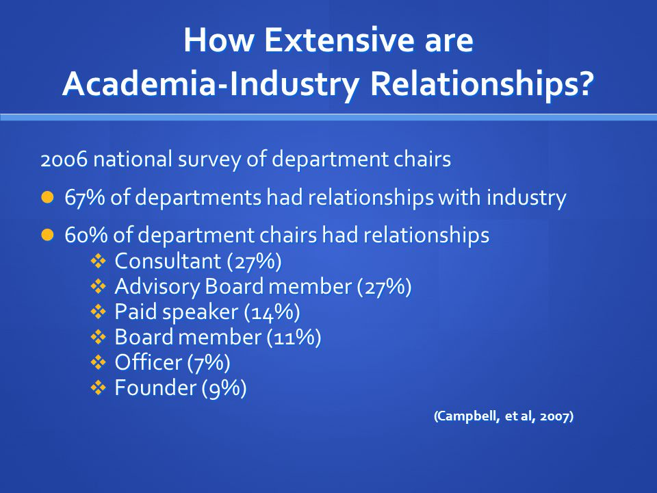 How Extensive are Academia-Industry Relationships