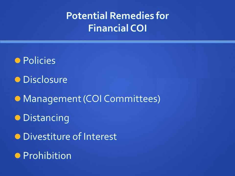 Potential Remedies for Financial COI