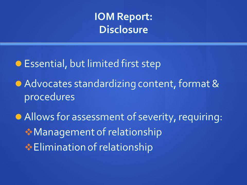IOM Report: Disclosure
