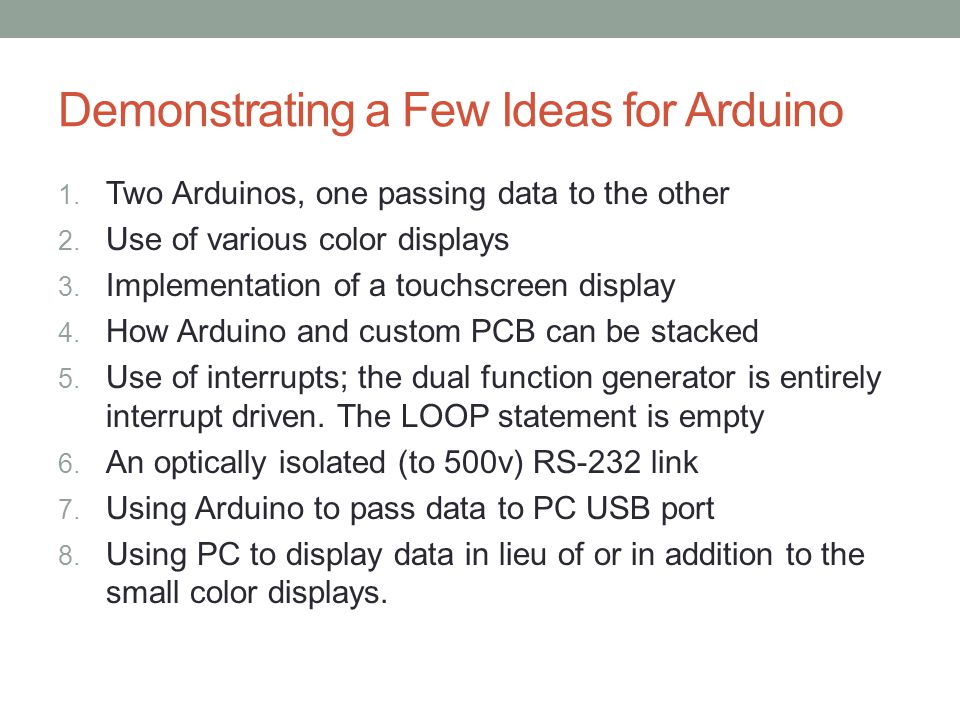 Demonstrating a Few Ideas for Arduino