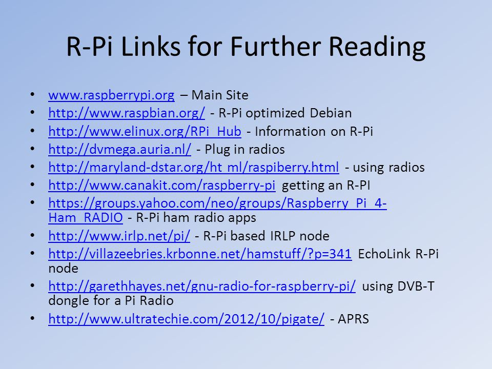 R-Pi Links for Further Reading