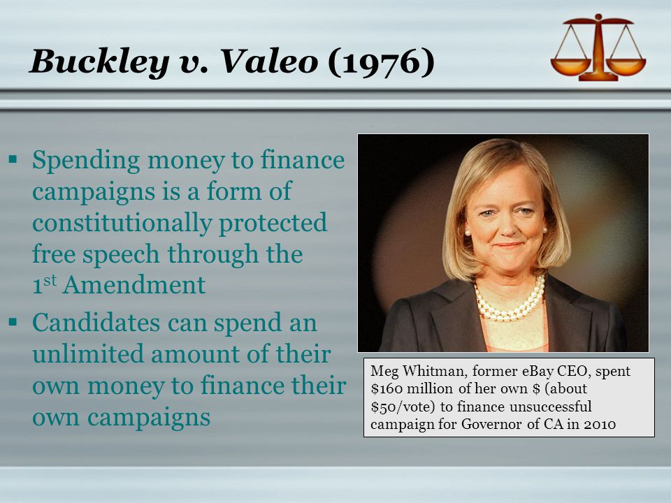 Buckley v. Valeo (1976) Spending money to finance campaigns is a form of constitutionally protected free speech through the 1st Amendment.