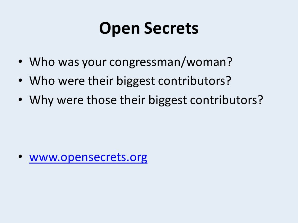 Open Secrets Who was your congressman/woman