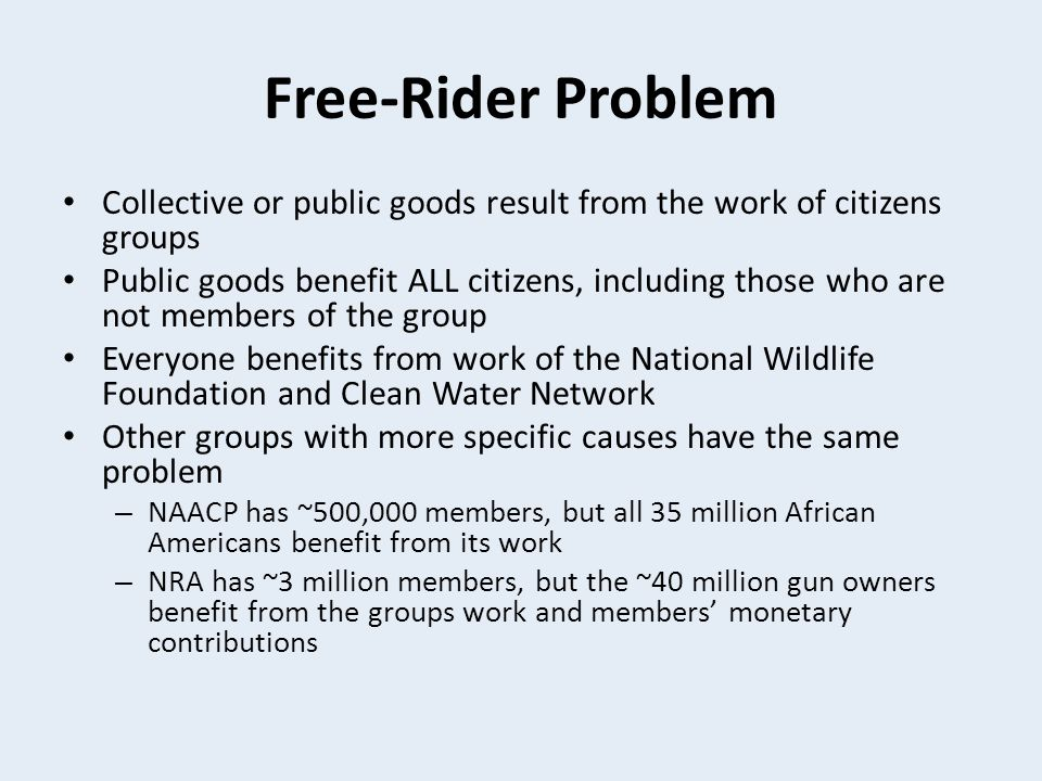 Free-Rider Problem Collective or public goods result from the work of citizens groups.