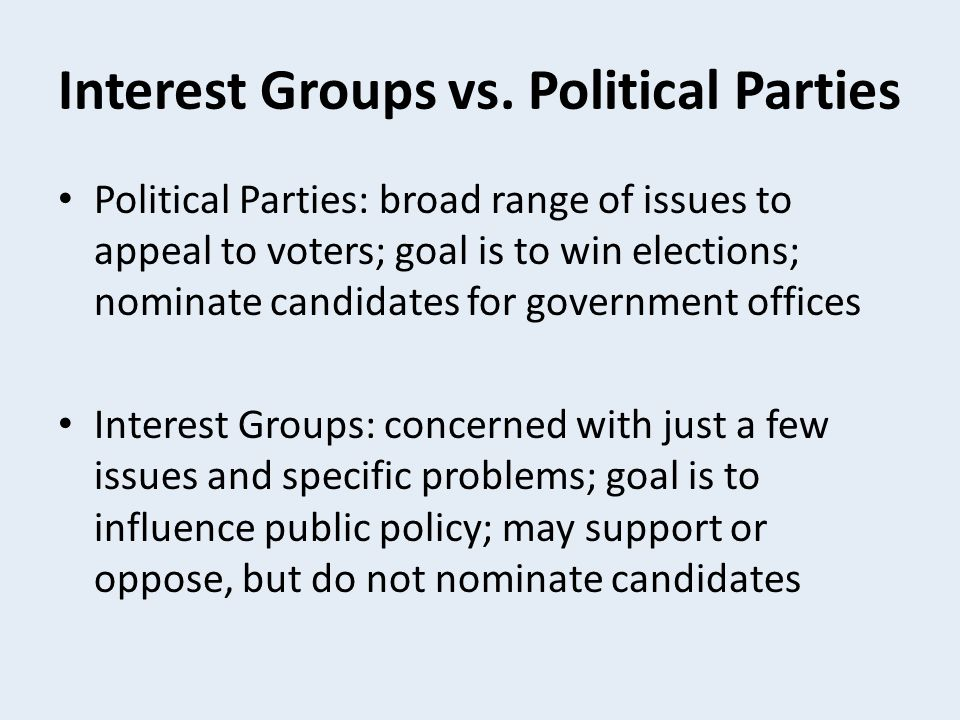 Interest Groups vs. Political Parties
