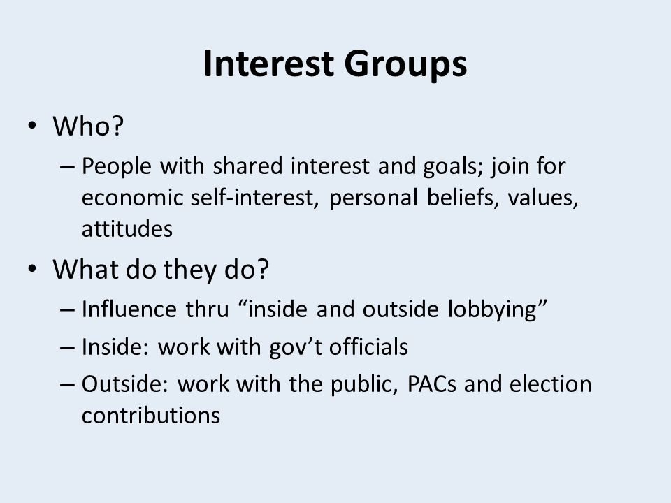 Interest Groups Who What do they do