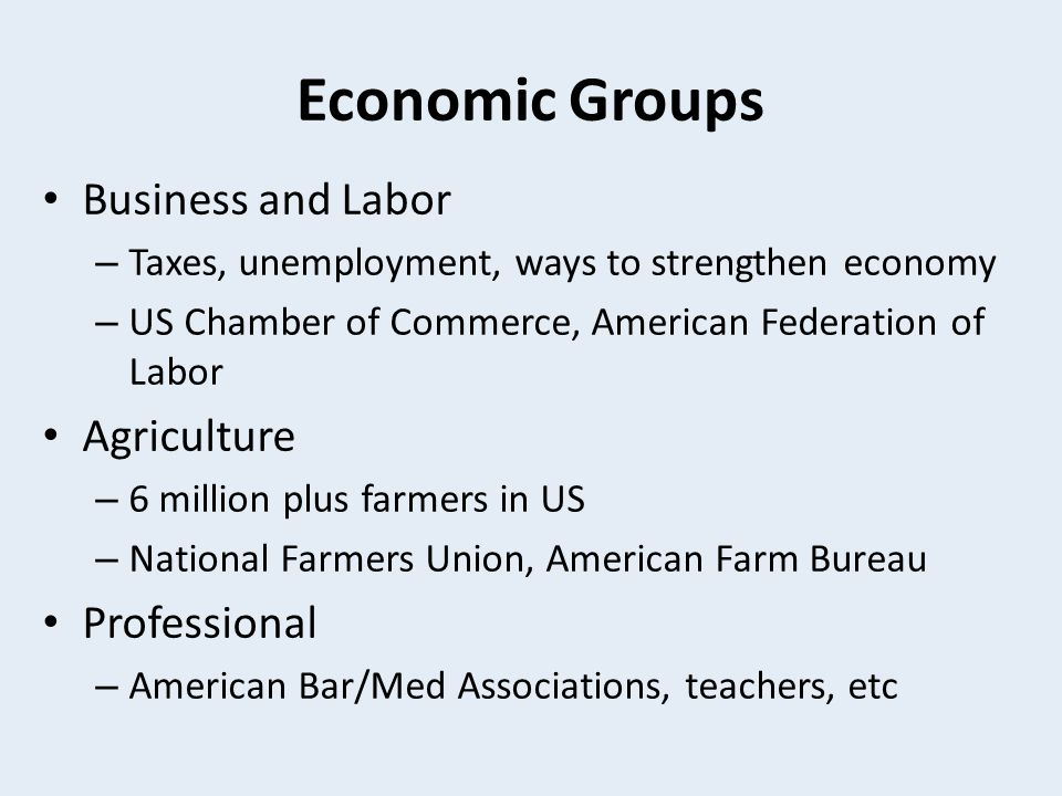 Economic Groups Business and Labor Agriculture Professional