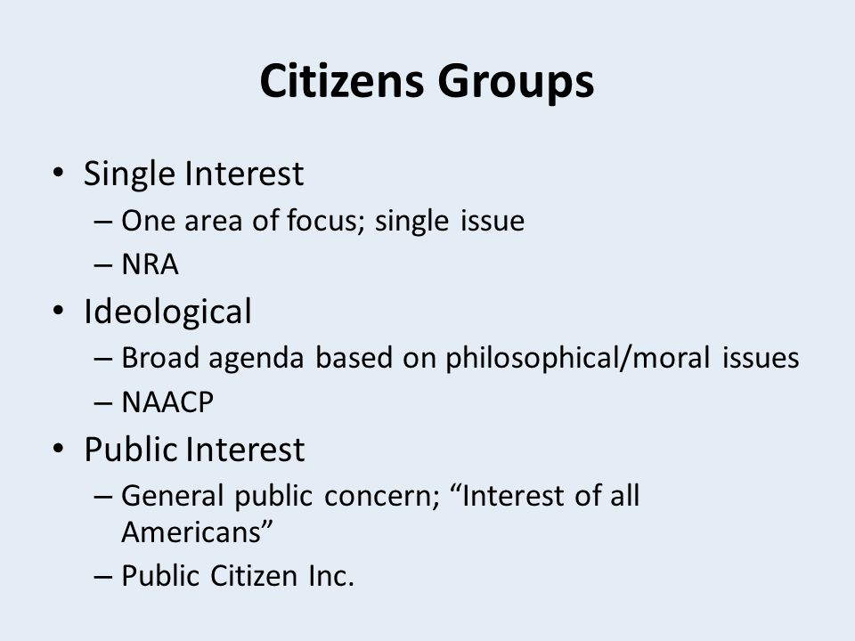 Citizens Groups Single Interest Ideological Public Interest