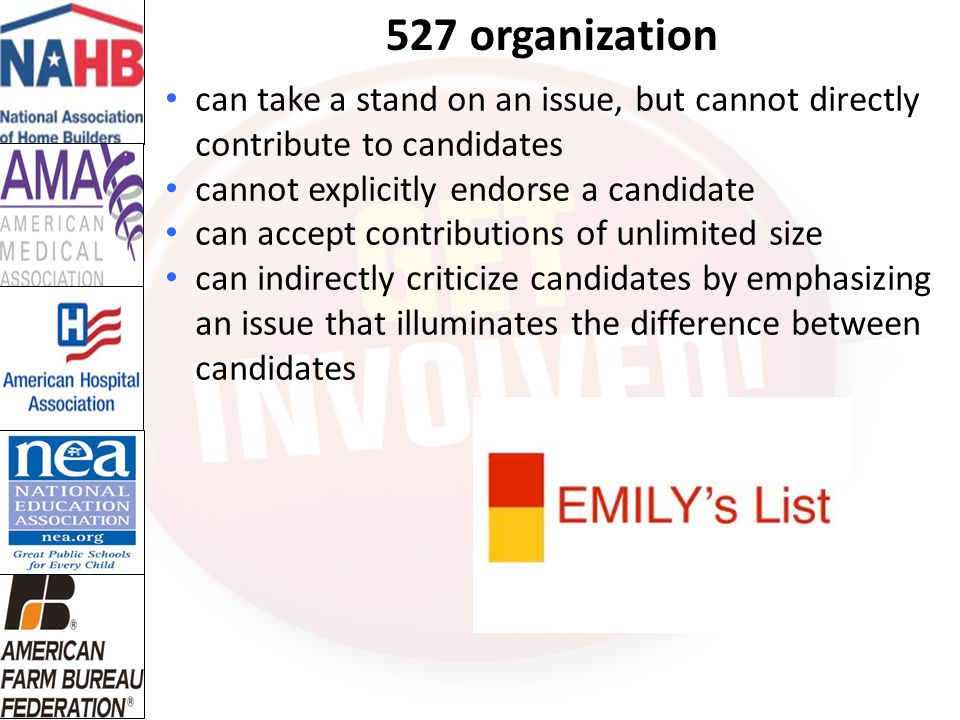 527 organization can take a stand on an issue, but cannot directly contribute to candidates. cannot explicitly endorse a candidate.