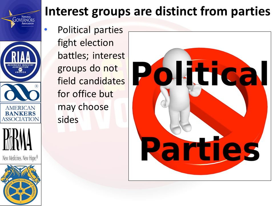 Interest groups are distinct from parties