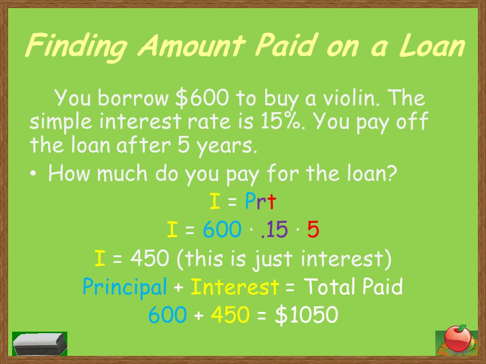 Finding Amount Paid on a Loan