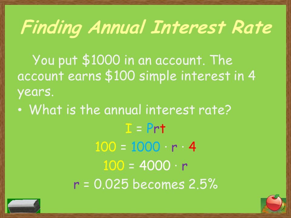 Finding Annual Interest Rate