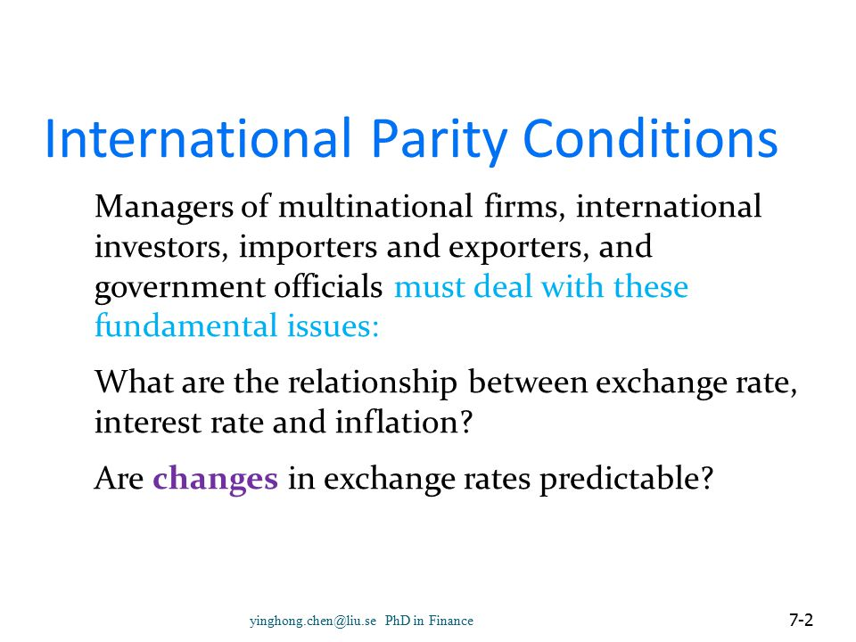 International Parity Conditions