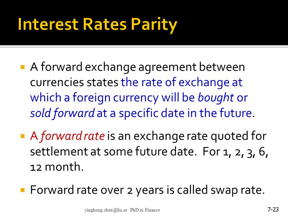 Interest Rates Parity