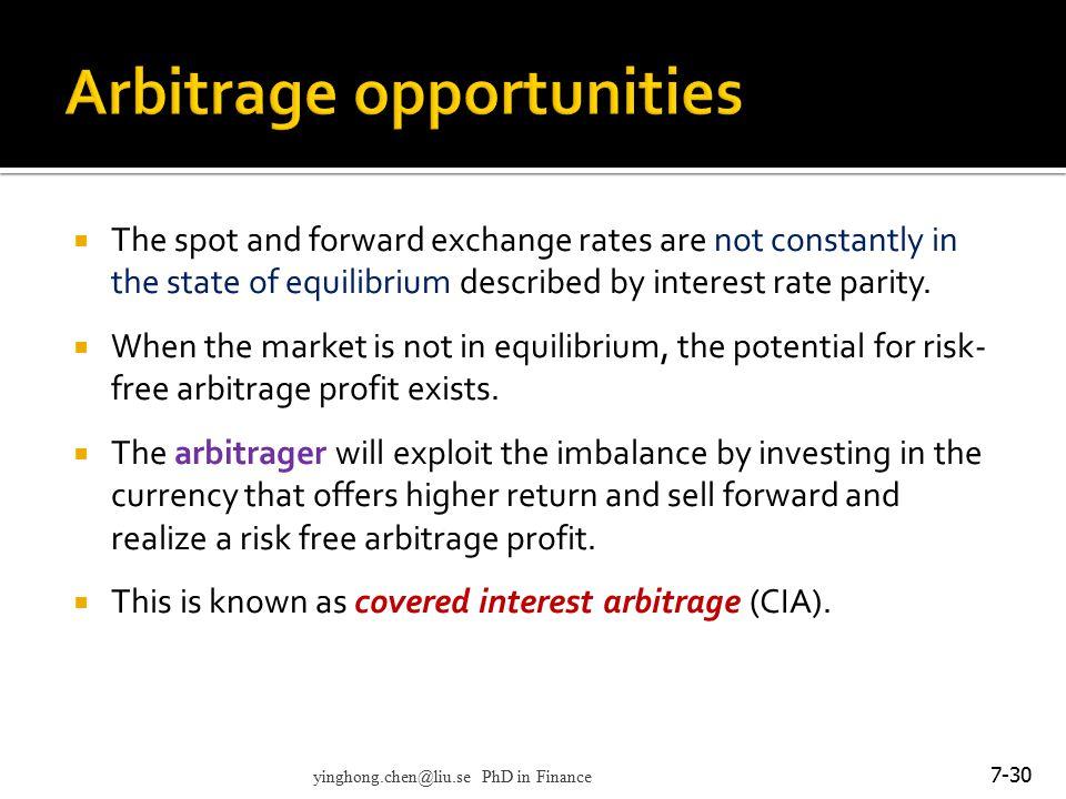 Arbitrage opportunities