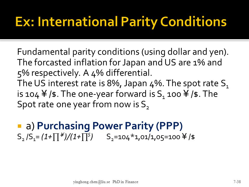 Ex: International Parity Conditions