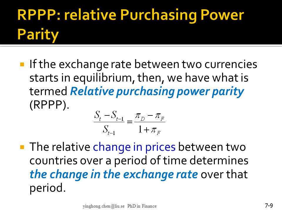 RPPP: relative Purchasing Power Parity