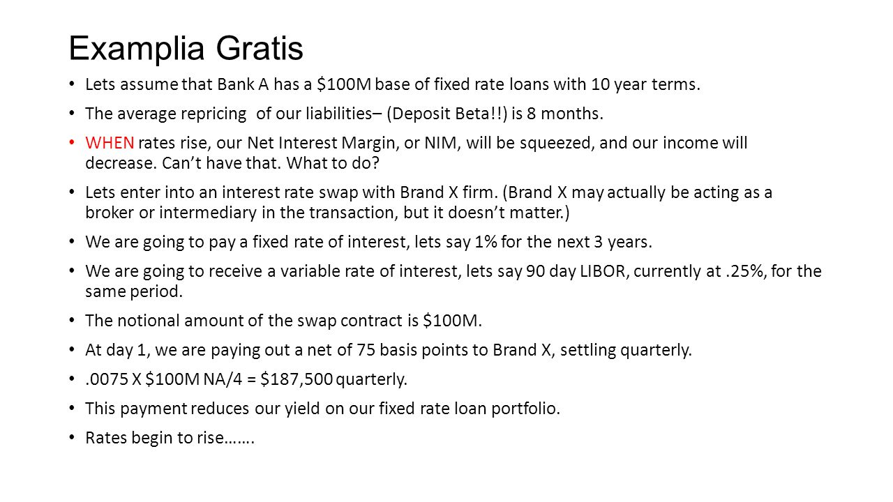 Examplia Gratis Lets assume that Bank A has a $100M base of fixed rate loans with 10 year terms.