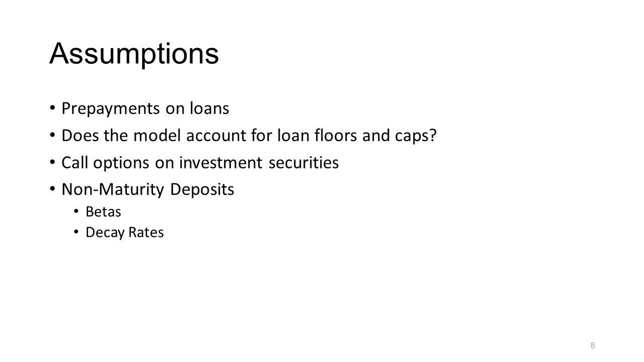 Assumptions Prepayments on loans